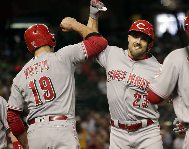 Cincinnati Reds' Adam Duvall (23) celebrates with Joey Votto (19) after hitting a grand slam against the Arizona Diamondbacks during the fourth inning of a baseball game Wednesday, May 30, 2018, in Phoenix. (AP Photo/Matt York)