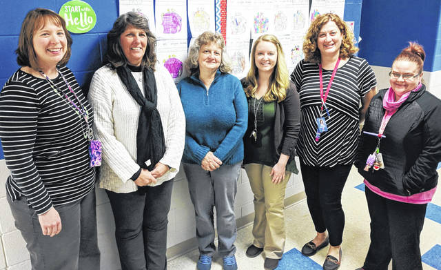 The Clinton-Massie preschool team includes, from left, Anne Brinck (teacher), Sandra Hoffer (paraprofessional), Sandy Pratt (paraprofessional), Amber Waller (teacher), Lori Wonderly (paraprofessional), and Ashley Brian (paraprofessional).
