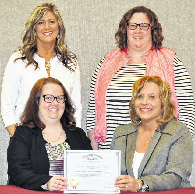 Here are the Southern Ohio Educational Service Center fiscal staffers. Seated are Megan Thompson, in accounts receivable and Rachel Meyer, treasurer; and standing are Rhonda Cochran, in accounts payable and Amanda Ely, in payroll.