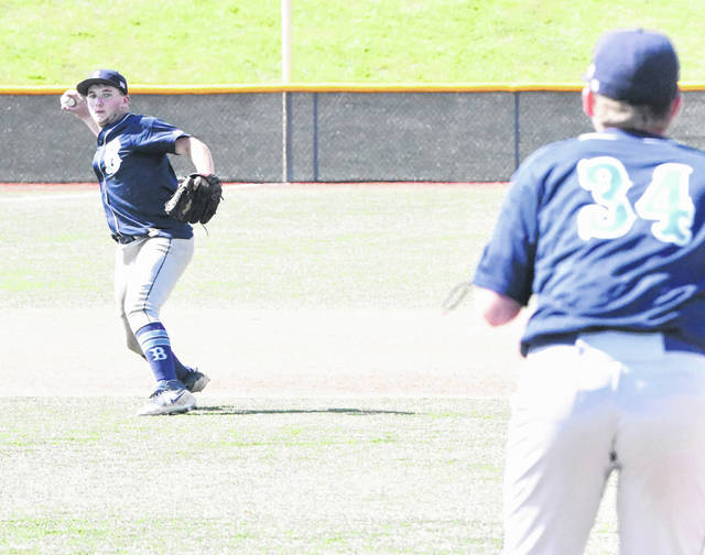 Eric Patton (left) made all the plays at shortstop Thursday in Blanchester's 13-3 win over Bethel-Tate.