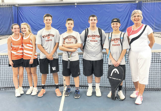 In the photo, at the Schroeder Center, from left to right, Jenna Taylor, Claire Burns, Parker Henry, Trey Reed, Isaac Martini, Brenten Nielsen and coach Cathy Fay.