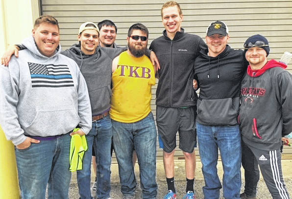 Members of the Tau Kappa Beta Fraternity, Wilmington College's three-time defending Fraternity of the Year, volunteered at the recent Tire Amnesty Event by registering participants, directing traffic, and placing tires into collection vehicles.