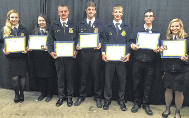 Here are Blanchester's 2018 State Degree recipients. From left are Brighton Morris, Felicity Richardson, Jacob Miller, Lane Heeg, Ian Heeg, Tim Rannells and Sally Schafer.