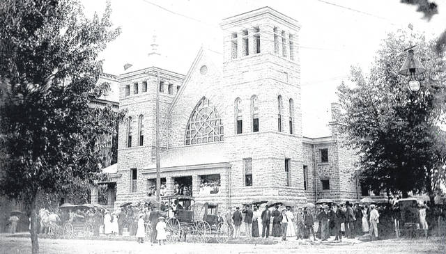 The cornerstone was laid in 1895; the new building was dedicated in 1896.