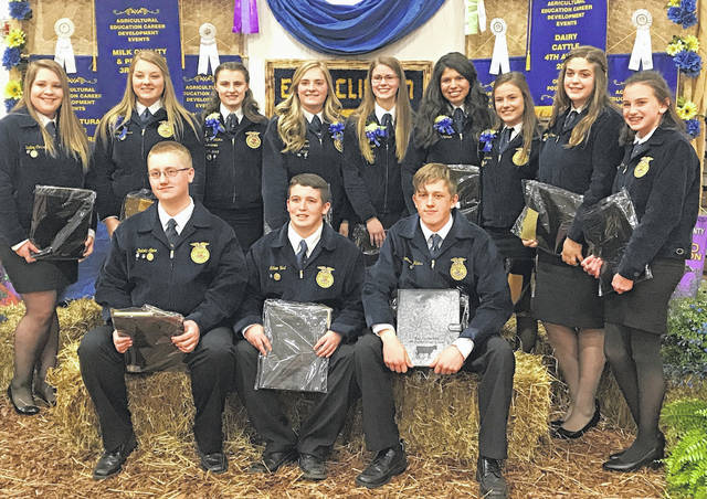 At the banquet are, from left: front, Dakota Slone, Nathan Vest and Brendon Walters; back, Bailey Corcoran, Ashley Kinner, Shelby Williams, Grace Cooper, Tabby Vance, Gracie McCarren, Taylor Boeckmann, Maggie Mathews and Holly Bernard.
