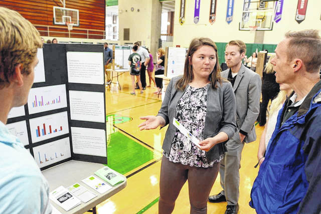 """Zara Zeller explains her team's research on """"Marketing Research for New Life Clinic"""" to Dr. Stephen Potthoff, associate professor of religion & philosophy, as team members Jarett Trautman (LEFT) and Rick Pride look on."""