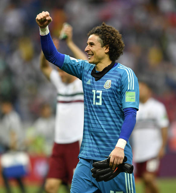 Mexico goalkeeper Guillermo Ochoa celebrates after the group F match between Mexico and South Korea at the 2018 soccer World Cup in the Rostov Arena in Rostov-on-Don, Russia, Saturday, June 23, 2018. (AP Photo/Martin Meissner)