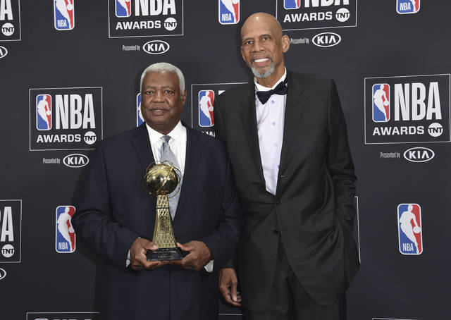 "Oscar ""The Big O"" Robertson, winner of the lifetime achievement award, left, and Kareem Abdul-Jabbar pose in the press room at the NBA Awards on Monday, June 25, 2018, at the Barker Hangar in Santa Monica, Calif. (Photo by Richard Shotwell/Invision/AP)"
