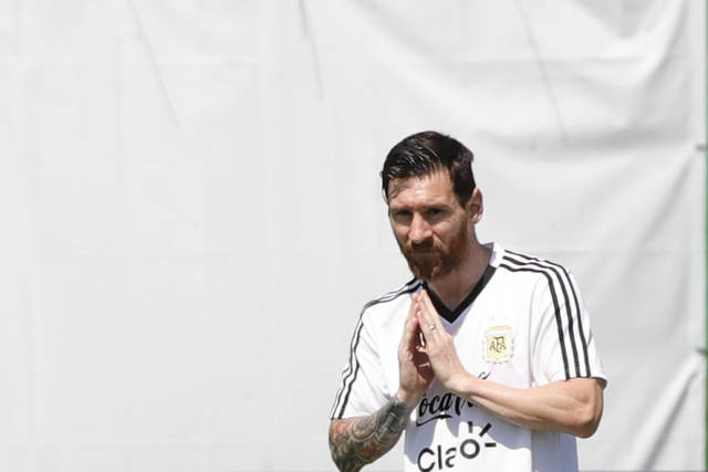 Lionel Messi during a training session of Argentina at the 2018 soccer World Cup in Bronnitsy, Russia, Thursday, June 28, 2018. (AP Photo/Ricardo Mazalan)