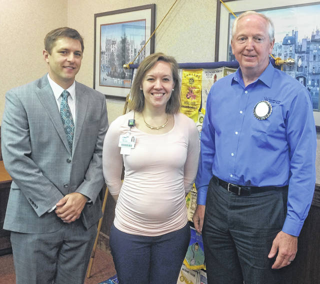 From left are Lance Beus, the new Chief Executive Officer, and Kelsey Swindler, Director of Marketing and Physician Recruitment, of Clinton Memorial Hospital Regional Health System, with Bob Schaad, President of the Wilmington Rotary Club.