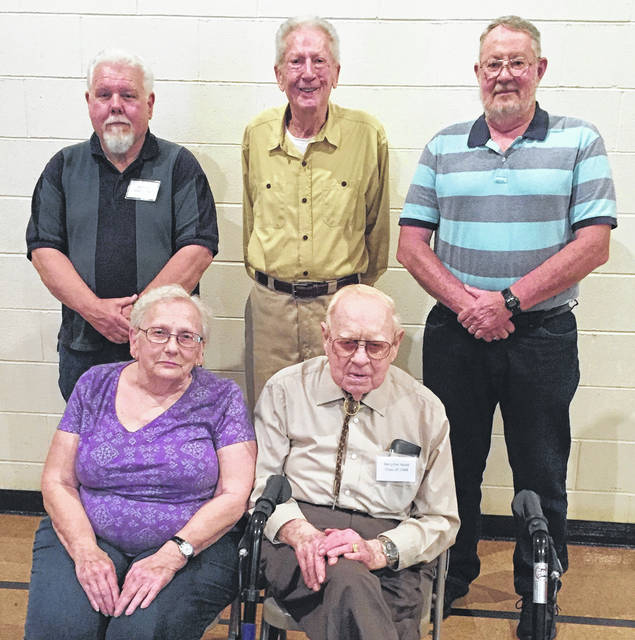 Honored graduates of Adams Township were: Front, Esther Bryan Bussell and Herschel Hook; back, Bill Pond, Ed Hollingsworth, and Gene Caplinger.