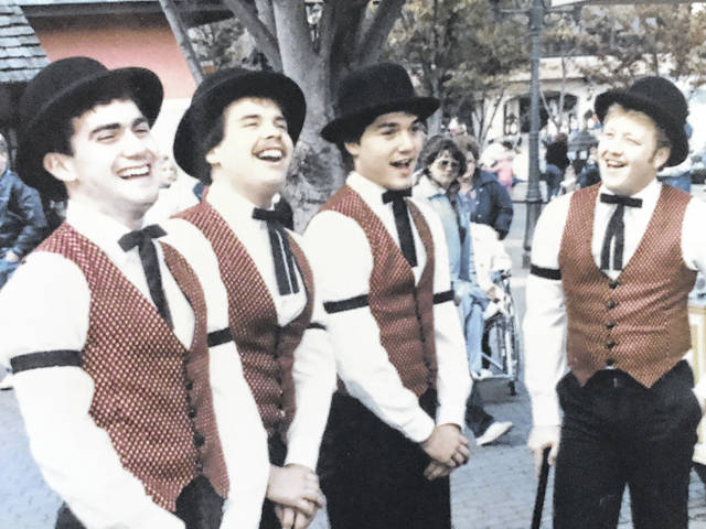 This photo was taken at Kings Island as David Beck worked his summer job in 1985. The quartet from left are Beck, Mark Baker, Bob MacLeod and Doug Miller.