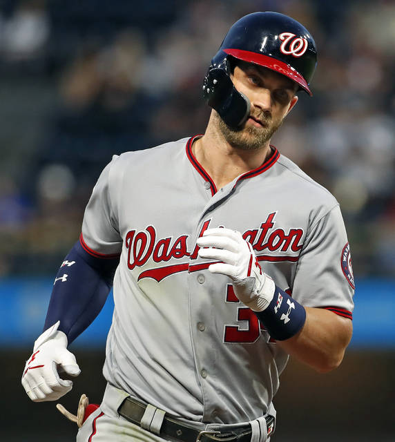 Washington Nationals' Bryce Harper rounds third after hitting a solo home run off Pittsburgh Pirates starting pitcher Ivan Nova in the sixth inning of a baseball game in Pittsburgh, Monday, July 9, 2018. (AP Photo/Gene J. Puskar)