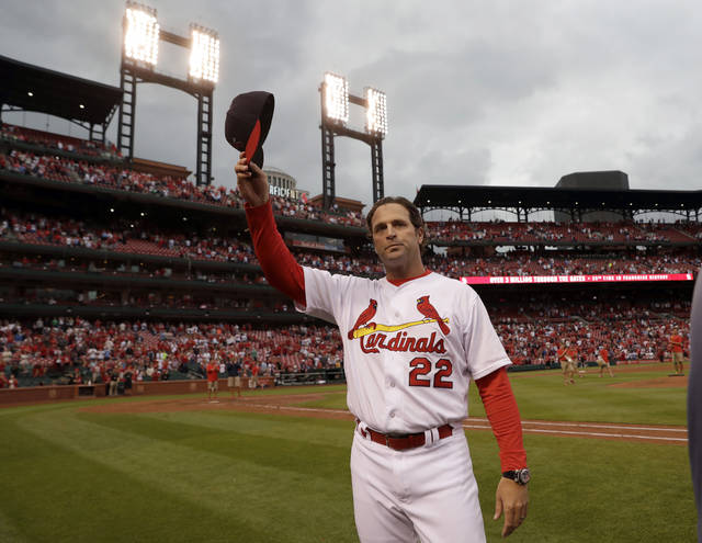 FILE - In this Oct. 2, 2016, file photo, St. Louis Cardinals manager Mike Matheny tips his cap to the fans following the team's victory over the Pittsburgh Pirates in a baseball game in St. Louis. The Cardinals have fired Matheny during his seventh season with the team hovering around .500. The Cardinals announced Matheny's firing after an 8-2 loss to the Cincinnati Reds on Saturday night, July 14, 2018, a defeat that dropped St. Louis to 47-46 and seven games back of the NL Central-leading Chicago Cubs. (AP Photo/Jeff Roberson, File)