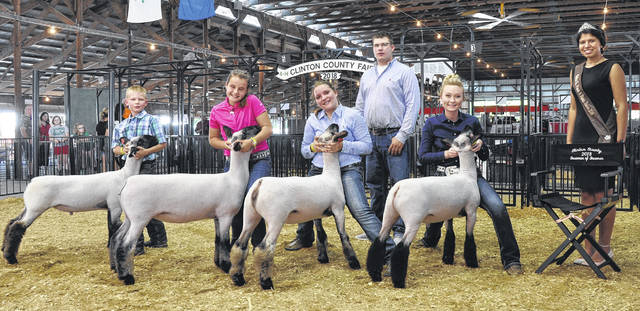 Sheep Showmanship winners: From left are Beginner Showman Kevin Foster, Junior Showman Gracie Wallen, Intermediate Showman Liz Schiff, Judge Jordon Fledderjohn, Senior Showman Madison Gilbert, and Lamb & Fleece Queen Gracie McCarren.