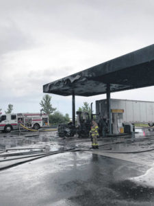 Semi-truck catches fire at Shell station