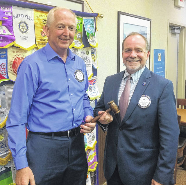 From left are Bob Schaad, President of the Wilmington Rotary Club which meets at noon, and Dan Evers, President-elect of the club.