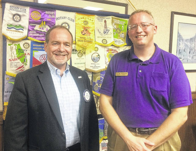 From left are Dan Evers, President of the Wilmington Rotary Club, and Joe Knueven, Executive Director of the Wilmington Public Library.