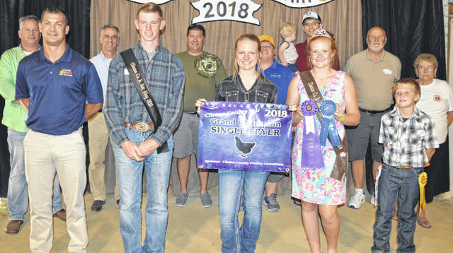 "Anastasia Newberry's grand champion fryer was sold at the Clinton County Junior Fair's Market Poultry Sale. Newberry is a member of the New Vienna Buckeyes 4-H Club. The buyers are Air Transport International (ATI), American Equipment Service, American Showa, Arehart-Brown Funeral Services LLC, BDK Feed & Supply, Clinton Animal Care Center, Collett Propane, Country View Hospital (Dr. Jill Thompson), D&S Freight, Generations Pizzeria, Grant Trucking, Johnson Farms, Long's Pharmacy, Martinsville Lions Club, Nationwide Insurance (Justin Holbrook), Southern Hills Community Bank, Wilmington Auto Center (Chrysler, Dodge, Jeep), Greater Tomorrow Health, R & R Tool Inc., No. 1 China Buffet, Worldwide Battery, Falgner Realty, and ""Pay it Forward"" Farm."