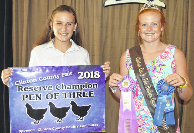 At left, Jessica Jones' reserve champion pen of three poultry entry was sold at the Market Poultry Sale. Jessica is a member of the Blanchester FFA chapter. The buyers are CM Farms LLC / QC Straw LLC, Clinton County Farmers Union, Heeg Farms, Johnson Farms, LT Land Development, Nationwide Insurance - Justin Holbrook, Panetta Excavating Inc., R+L Carriers / Roberts Centre, Sams Meats, World Equestrian Center, R & R Tool Inc., and No. 1 China Buffet.