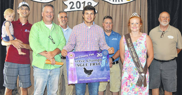Brady Bergefurd's reserve champion poultry fryer sold at the Market Poultry Sale in the Junior Fair livestock auctions. The buyers are AMES (Airborne Maintenance & Engineering Service), American Equipment Service, American Showa, Arehart-Brown Funeral Services LLC, BDK Feed & Supply, CM Farms LLC / QC Straw LLC, Clinton Animal Care Center, Collett Propane, First State Bank, Generations Pizzeria, Groves Tire & Service, Jeff and Sandy Hartman Family, JD Equipment Inc., Johnson Farms, Lowes, Merchants National Bank, Miller Farms & Trucking, Modern Woodmen Fraternal Financial, Nationwide Insurance - Justin Holbrook, Peoples Bank, Polaris Industries, Service Master by Angler, Skyline Chili Wilmington, Smith Farms Trucking, Sunrise Cooperative, Superior Flooring, Vital Fitness, WyldFyre Farms, R & R Tool Inc., No. 1 China Buffet, Lewis Financial Group, Drayer Physical Therapy, and State Farm Insurance.