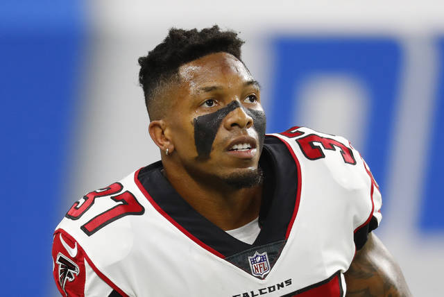 File- This Sept. 24, 2017, file photo shows Atlanta Falcons free safety Ricardo Allen before an NFL football game in Detroit.  Tired of pompous, entitled athletes who don't realize how good they have it? Fed up with all the scandals and cheats and scoundrels mucking up things for the rest of us? Meet Ricardo Allen, who gives us all a reason to cheer. (AP Photo/Paul Sancya, File)