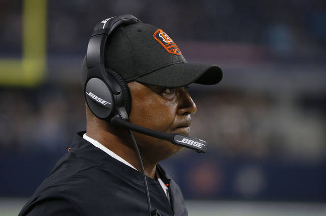 Cincinnati Bengals head coach Marvin Lewis watches from the sidelines during the second half of a preseason NFL football game against the Dallas Cowboys in Arlington, Texas, Saturday, Aug. 18, 2018. (AP Photo/Michael Ainsworth)