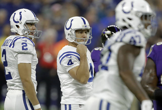 Indianapolis Colts kicker Adam Vinatieri (4) reacts to making a field goal against the Baltimore Ravens in the first half of an NFL preseason football game in Indianapolis, Monday, Aug. 20, 2018. (AP Photo/Darron Cummings)