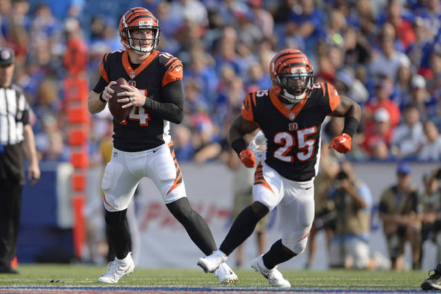 File-This Aug. 26, 2018, file photo shows Cincinnati Bengals quarterback Andy Dalton (14) looking to pass as running back Giovani Bernard (25) blocks during the first half of a preseason NFL football game in Orchard Park, N.Y. Dalton has proven he can be among the league's most efficient passers when he's got time. He's not as adept at improvising, and last year he spent a lot of time on the run because of the line's inability to protect him.  (AP Photo/Adrian Kraus, File)