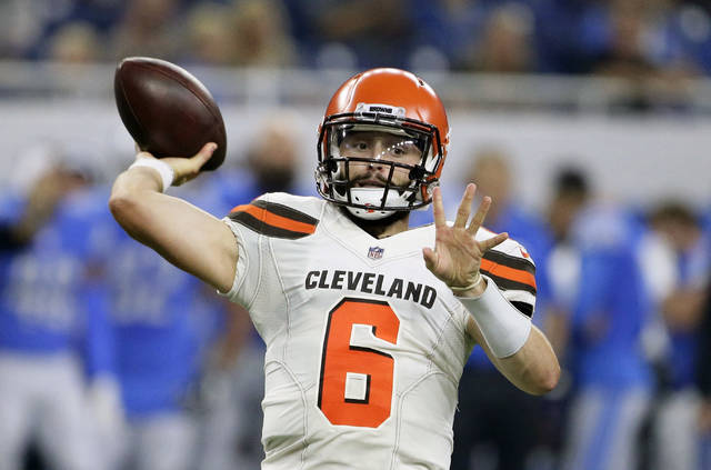 Cleveland Browns quarterback Baker Mayfield throws during the first half of an NFL football preseason game against the Detroit Lions, Thursday, Aug. 30, 2018, in Detroit. (AP Photo/Duane Burleson)