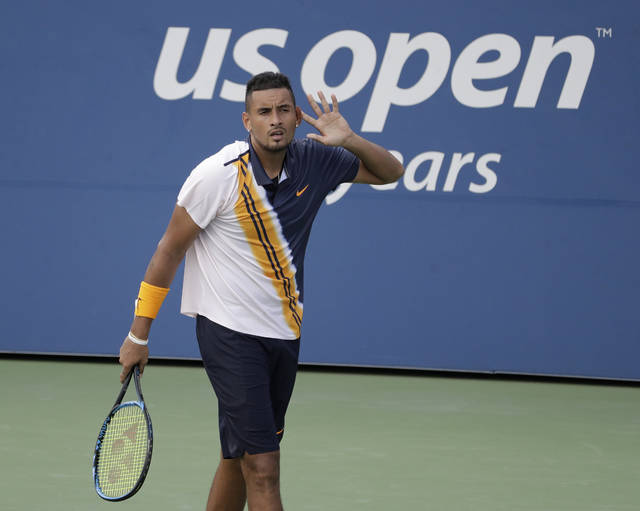 Nick Kyrgios, of Australia, reacts against Pierre-Hugues Herbert, of France, during the second round of the U.S. Open tennis tournament, Thursday, Aug. 30, 2018, in New York. (AP Photo/Seth Wenig)