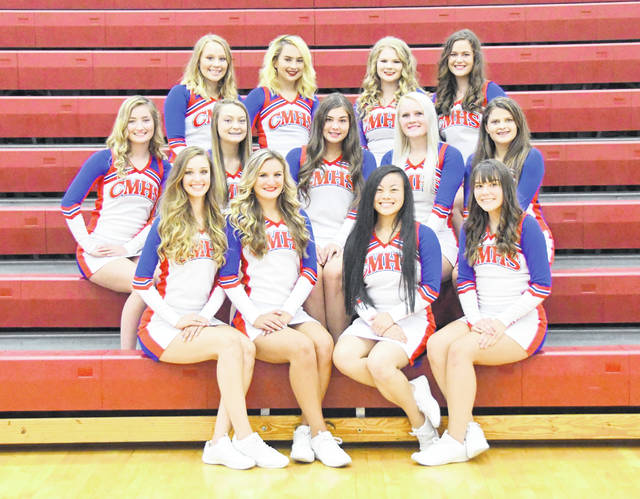 The Clinton-Massie High School cheer squad has 25 members this season. According to coach Sheri Stulz, there is plenty of excitement on Lebanon Road. At the UCA Camp this summer, both squads competed and received a superior rating. In the photo, from left to right, Raelynne Mason, Karlee Rice, Mei Mei Davis, Izabella Pinardi; middle row, Emily Allgeyer, Karsyn Lisle, Hannah Leforge, Alexis Mobley; back row, Lilli Sweeney, Brooke Sphar, Sadie McIntosh, Leah Burton.