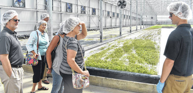 Apprentice Grower Johnny O'Neal, right, takes a group of locals on a tour of BrightFarms, the first national brand of locally grown produce, on Friday.