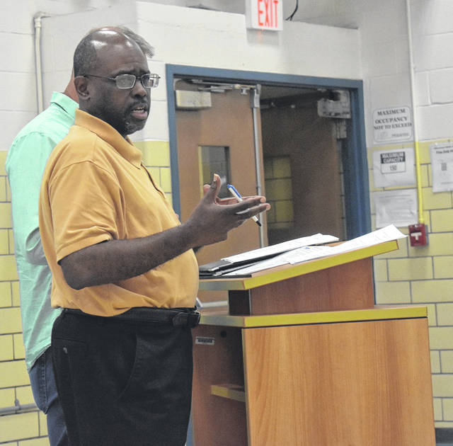 Brent Boyd, the Chief Operating Officer of Solar Power and Light, LLC, out of Dayton, spoke at Monday's Blanchester School Board meeting.