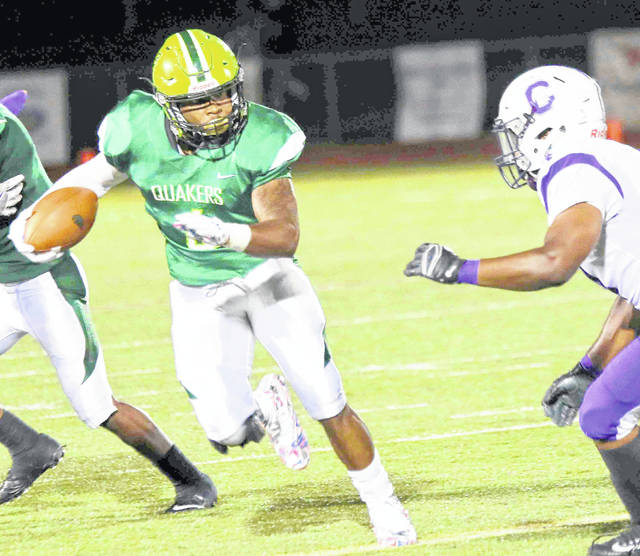 Running back Gino Hinton is one of the top returning players in 2018 for the Quakers.