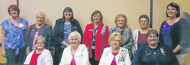 Twelve members of the George Clinton Chapter traveled to Columbus for the Ohio Society Daughters of the American Revolution Fun Fair Aug. 25. Chapters from all over Ohio were in attendance. Participants gained new ideas and information for their chapters. Pictured are: front, Kitty Werner,Joyce Peters, Frances Sharp and Leslie Holmes; second row, Shannon Peters, Nancy Bernard, Linda Hamilton, Susan Henry, Pat McKenzie, Karen McKenzie and Karin Kratzer. Not shown is Judy Sargent.