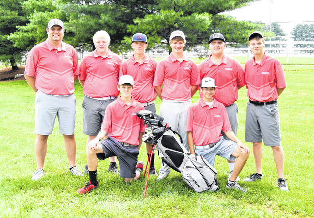 The East Clinton High School boys golf team, from left to right, front row, Quinten Tolle, Even Stewart; back row, head coach Mike Deters, Cody Chaney, Brendan Walters, Shane Streber, Gage McConahay, Lane Baker. Team member Connor Beitusch was not present for the photo.
