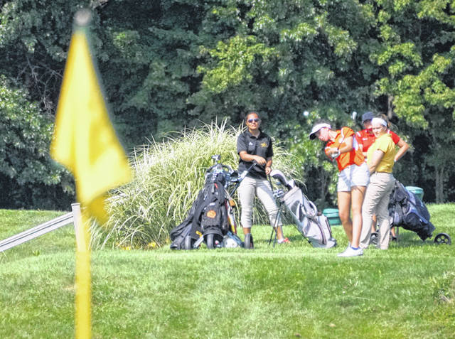 Wilmington's Meredith Robinson tees off on hole No. 6 Monday at Deer Track Golf Course in the SBAAC girls golf match.