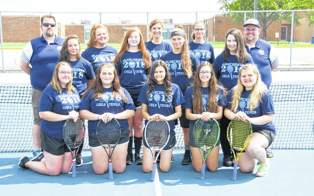 The Blanchester High School girls tennis team, from left to right, front row, Calleigh Hixson, Hannah Renner, Jill Richardson, Kayla Allen, Taylor Bradley; middle row, Maddy Coyle, Madison Ogden, Elicia Patton, Felicity Richardson; back row, coach Mike Sexton, Ashleigh Osborn, Lydia Falgner, Annie Trovillo, head coach Matt Sexton. Team member Lexie Winemiller was not present for the photo.