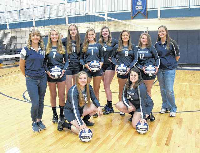 The Blanchester High School volleyball team, from left to right, front row, Kassidy Abney, Kelli Hoffman; back row, assistant coach Julie Mulvihill, Molly Campbell, Caili Baumann, Ally Davis, Morgan Oberle, Madison Creager, Taylor Combs, head coach Jenna Weisflock.