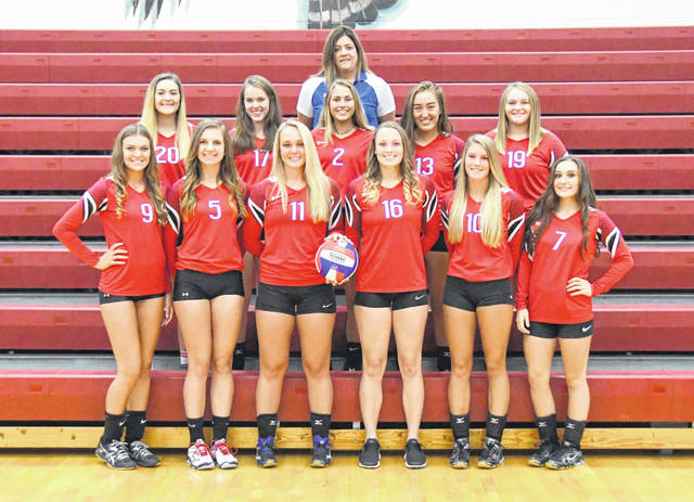 The Clinton-Massie High School volleyball team, from left to right, front row, Hayley Roberts, Haley Conley, Faith Cottrell, Taylor Florea, Tyler Greathouse, Maddie Enright; middle row, Cadin Reveal, Delany Miller, Rylee Richardson, Carly Moritz, Kennedy Thompson; back row, head coach Stephanie Reveal.