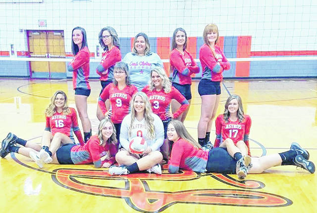 The East Clinton High School volleyball team, from left to right, front row, Kaitlyn Talbott, Mackenzie Campbell, Rhylee Luttrell, Megan Stewart, Kaitlin Durbin; middle row, Miranda Beener, Lacey Peterman; back row, Katrina Bowman, Kiya Byrd, coach Sarah Sodini, Emma Malone and Myah Jones.