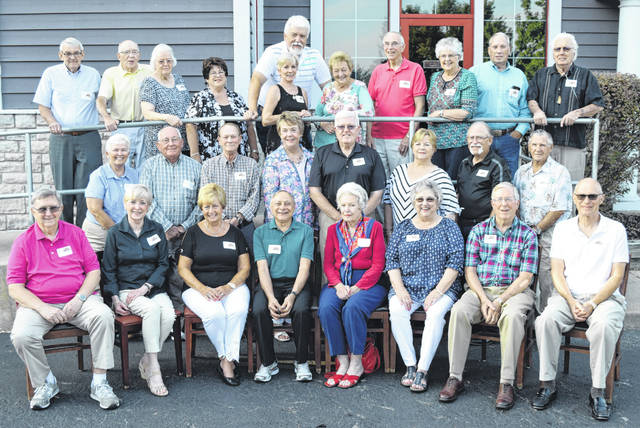 From left are: First row, Gary Dunn, Ann Hale Noftsger, Diane Edwards Ewing, Wayne Fulton, Gail Brester Langham, Bonnie Moore Mathews, Ken Curtis, Jim Hunter; second row, Charlene Myers Boggs, Ken Quigley, Bob Valentine, Anne Telfair Clippard, Don Miley, Beverly Liming Roe, Roger Foster, Burt Damron; back row, Gary Heeg, Charlie (Dick) Swearingen, Carol Wallace Gibson, Doris Wiget Cochran, Leva Grant Bath, Ken McCoy, Karen Vance Wood, Tom Wood, Mary Alice Snyder Bryan, Bob King, and David Halley.