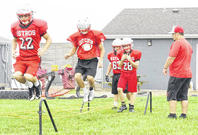 All four Clinton County high school football programs will conduct scrimmages Saturday. East Clinton (with players shown above) will travel to Frankfort to face Adena High School at 5 p.m. Wilmington will be at Beavercreek for a 10 a.m. start and Clinton-Massie will play Edgewood beginning at 10 a.m. Blanchester will host Hillsboro and former head coach and BHS graduate Jack O'Rourke and his Indians at 9 a.m. at Barbour Memorial Field. On Thursday, Aug. 23 the News Journal will publish a full-color glossy magazine covering the local fall sports teams.
