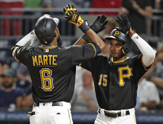 Pittsburgh Pirates' Starling Marte (6) is greeted by Pablo Reyes as he crosses home plate after hitting a two-run home run off Cincinnati Reds starting pitcher Cody Reed during the fourth inning of a baseball game in Pittsburgh, Tuesday, Sept. 4, 2018. (AP Photo/Gene J. Puskar