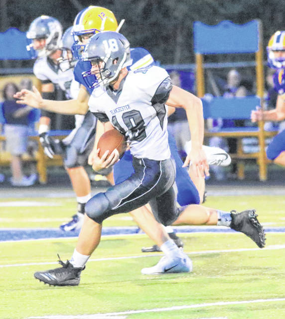 Blanchester's Dale Sturgill on the run in the Week 2 game against Mariemont.