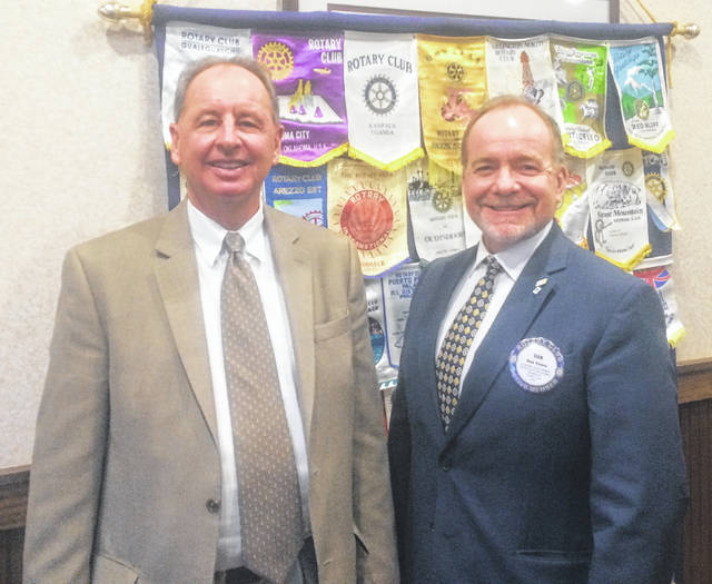 From left are Al Bell, President and CEO of Levin Service Company, and Dan Evers, President of the Wilmington Rotary Club.