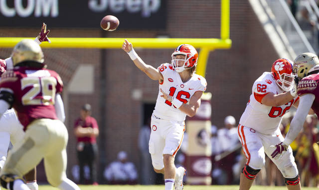 3716111c0 Clemson quarterback Trevor Lawrence throws in the first half of an NCAA  college football game against