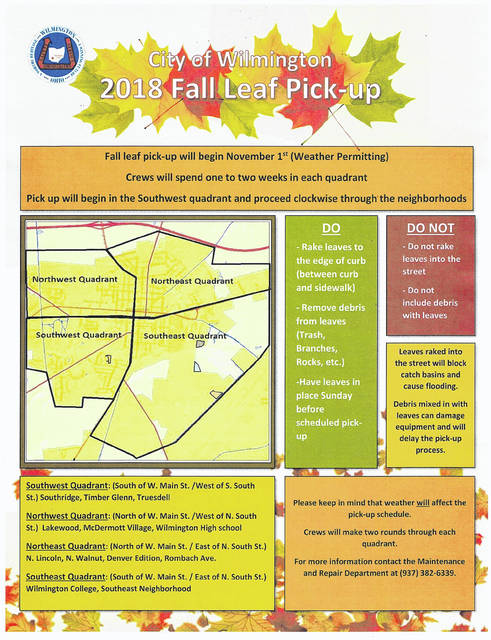 the flyer detailing the citys leaf pickup